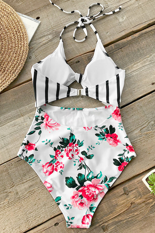 Floral And Stripe Bowknot One-Piece Swimsuit