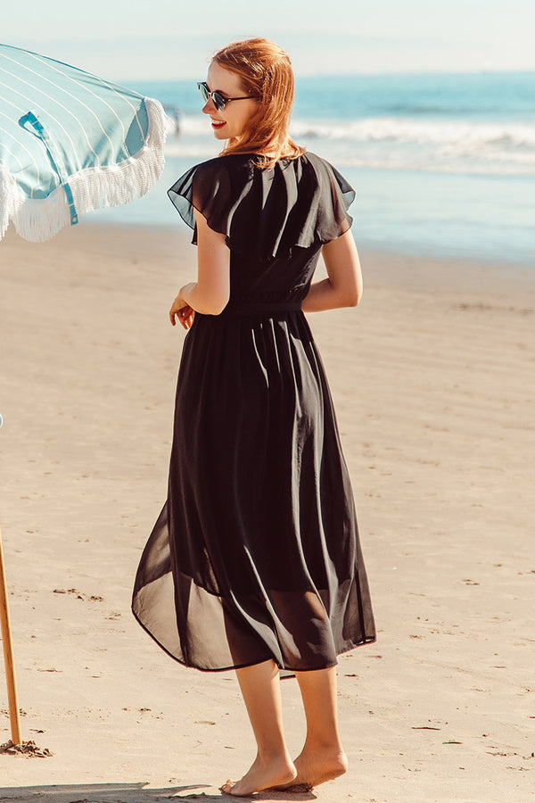 Elegant Black V-neck Midi Dress