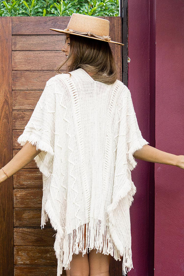 White Cover Up with Tassel Trim