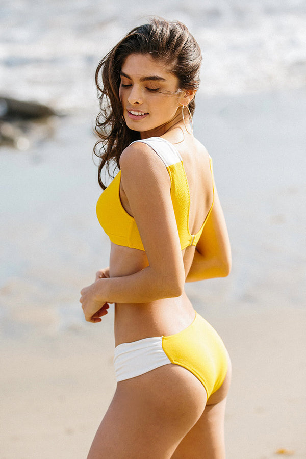 Yellow and White Ruched Bikini
