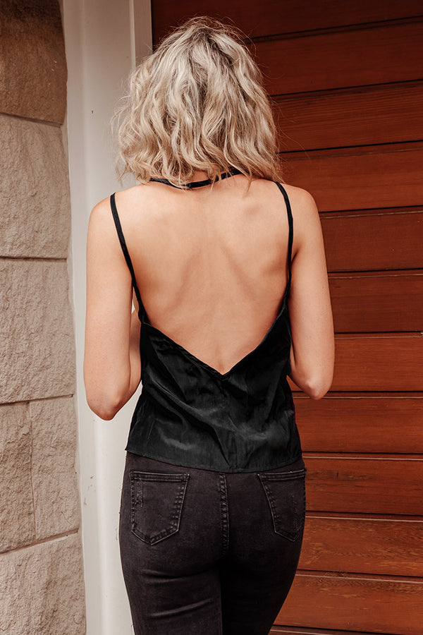 Black Button Trimmed Camisole