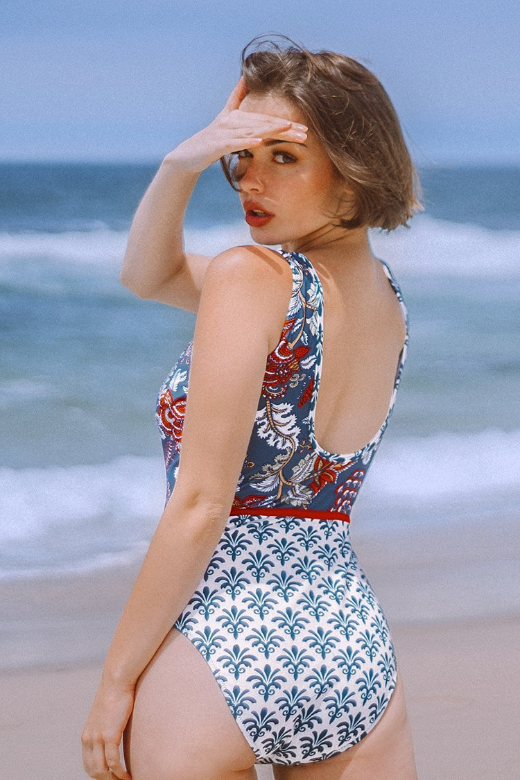 Blue Print Plunging Neckline One-Piece Swimsuit