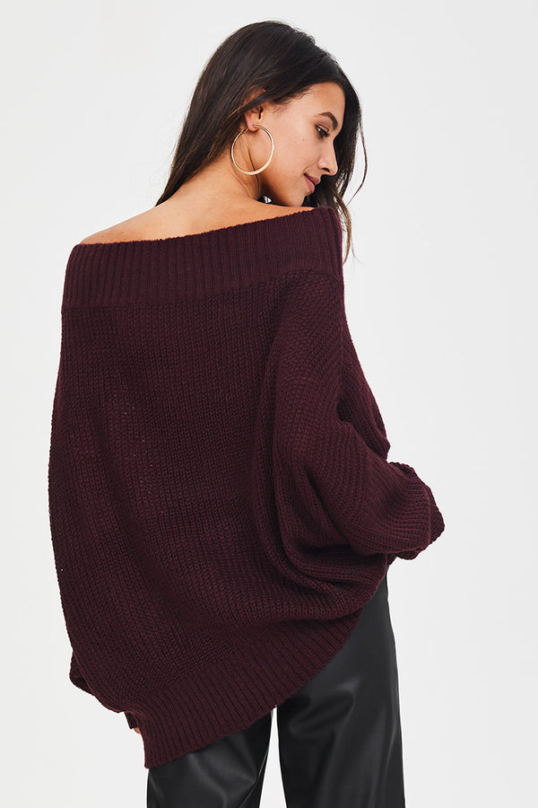 Wine Red Oversized Sweater