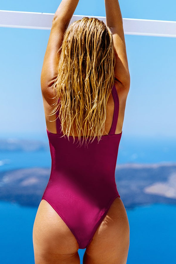 Red Twist-Front One-Piece Swimsuit