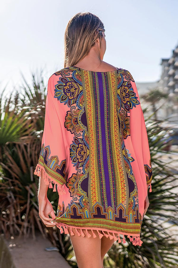 Orange Boho Cover Up with Tassels