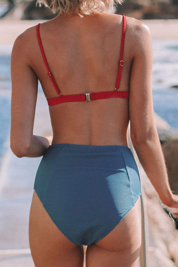 Red and Blue High-Waisted Bikini