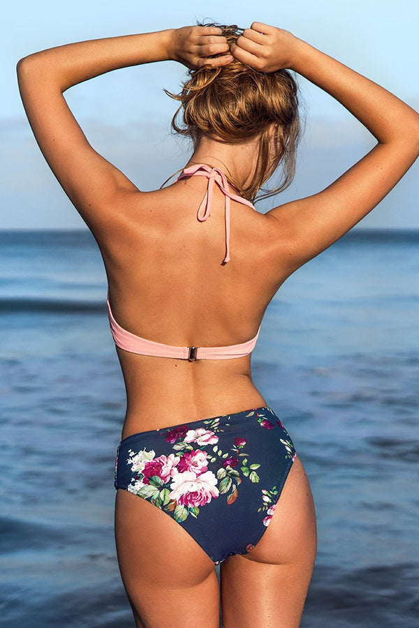 Sweet Pink and Floral Halter Bikini
