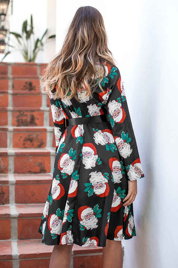 Black Santa print Belt Midi Dress
