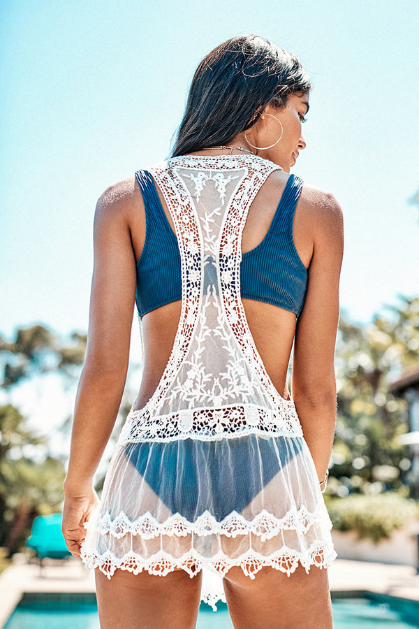White Lace Sleeveless Cover Up