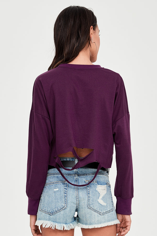 Wine Red Cropped Slashed Sweater