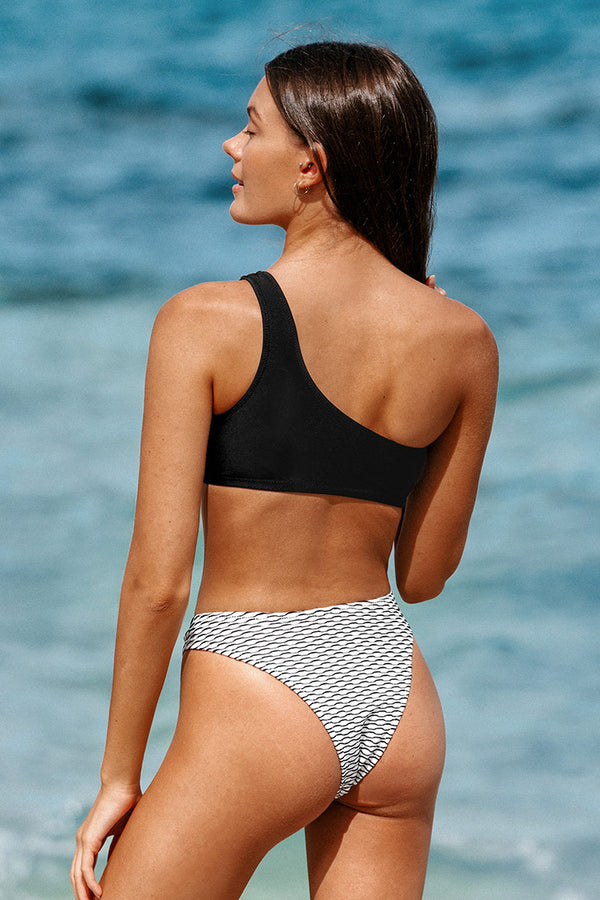 One Shoulder Bikini with Stripes