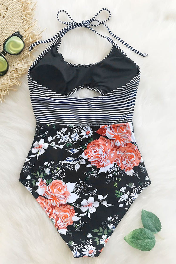 Secret Fragrance Print One-piece Swimsuit