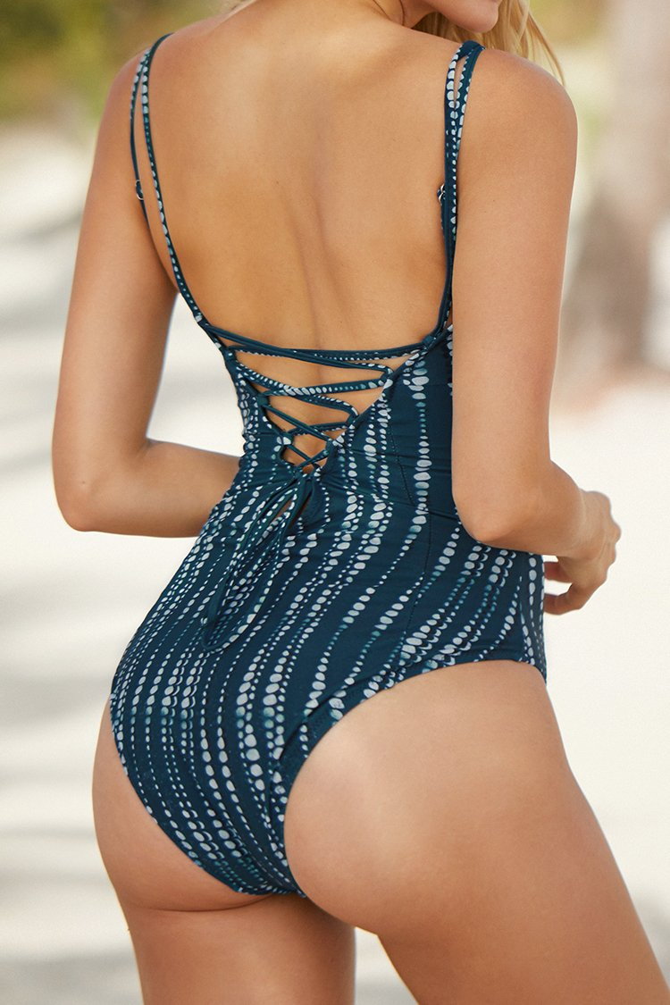 Dream Space Lace-Up One-Piece Swimsuit