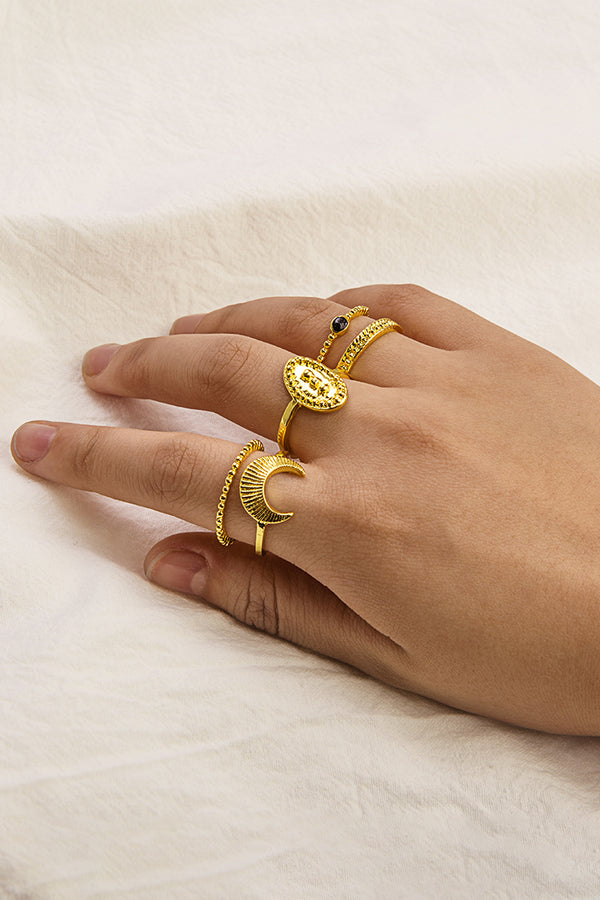 Gold Sun And Moon Ring Set