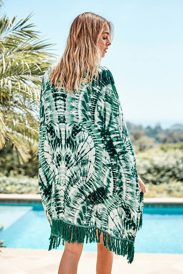 Green Tie Dye Cover Up with Fringe