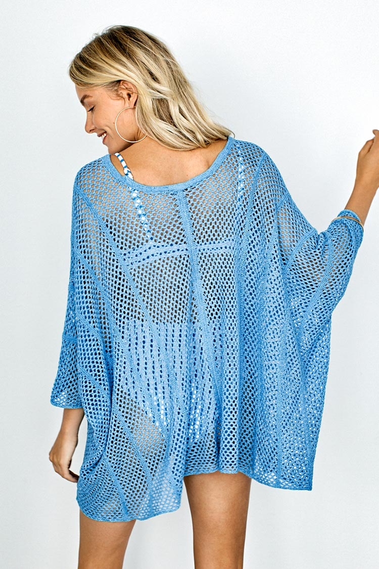 Sky Blue Drawstring Cover Up