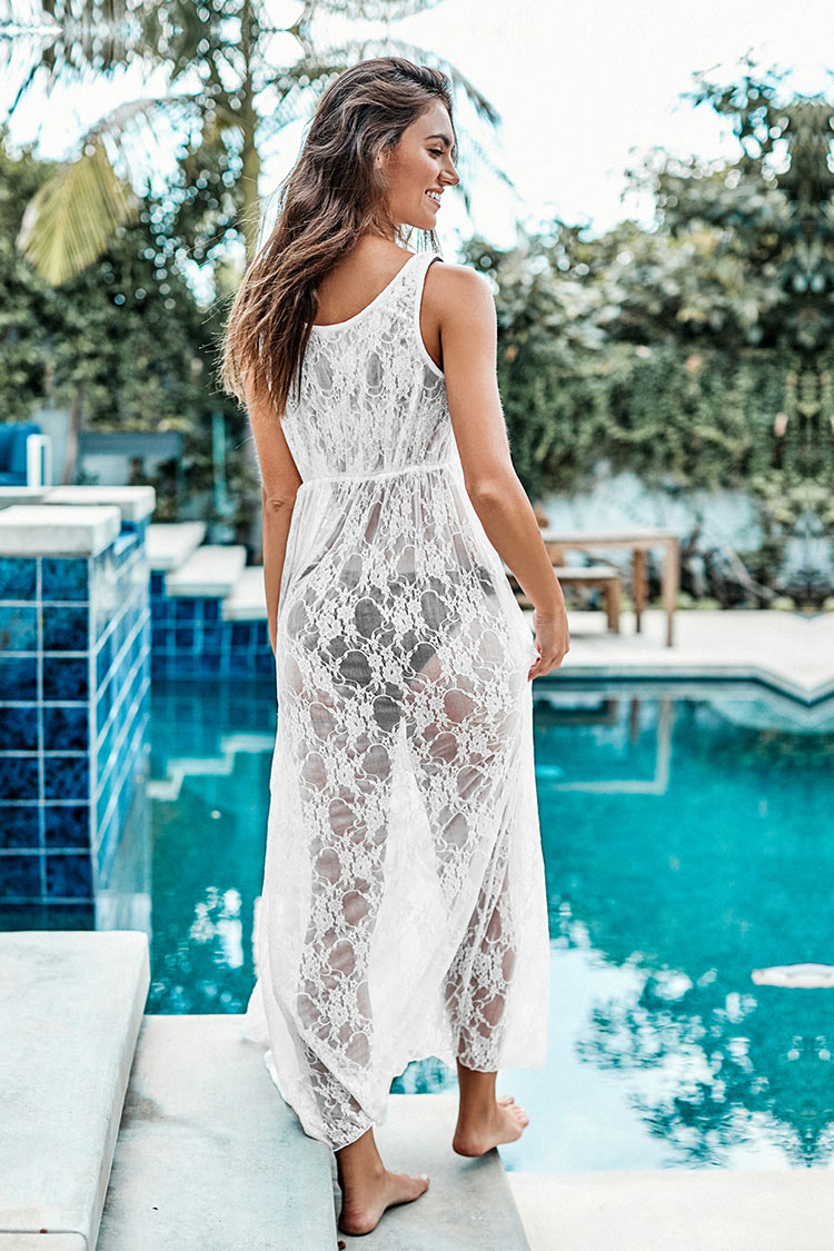 White Mini Floral Lace Cover Up