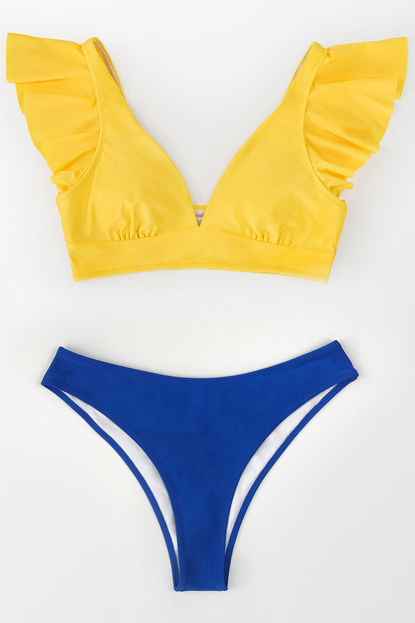 Yellow Ruffled V-Neck Bikini Top
