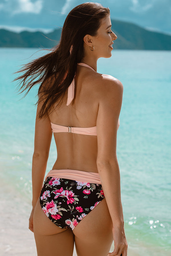 Peachy Pink Halter Bikini with Floral Print Bottom