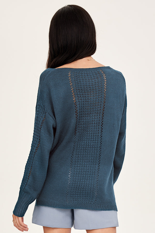 Blue Drop Stitch V-Neck Sweater