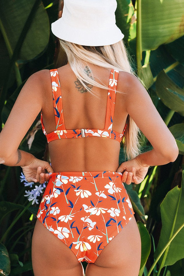 Orange Floral High-Waisted Bikini
