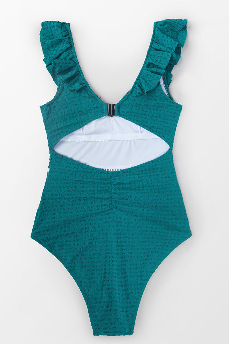 Solid Teal Ruffled One-Piece Swimsuit