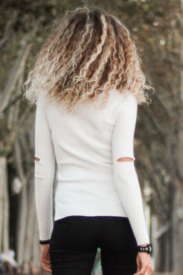 White Side Slit Ribbed Sweater