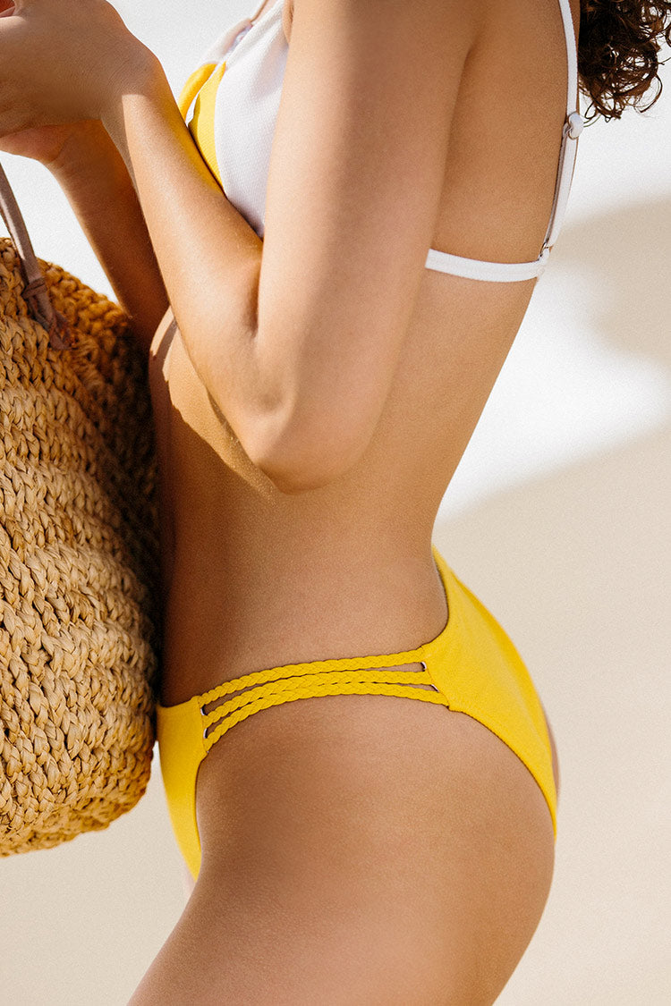 Yellow and White Triangle Bikini