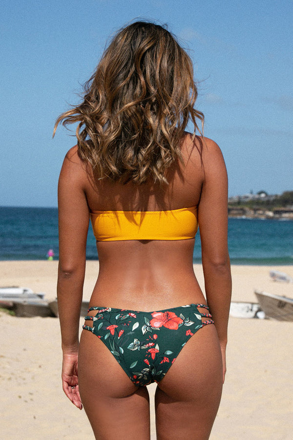 Smocked Yellow Bowknot Front  and Floral Bikini