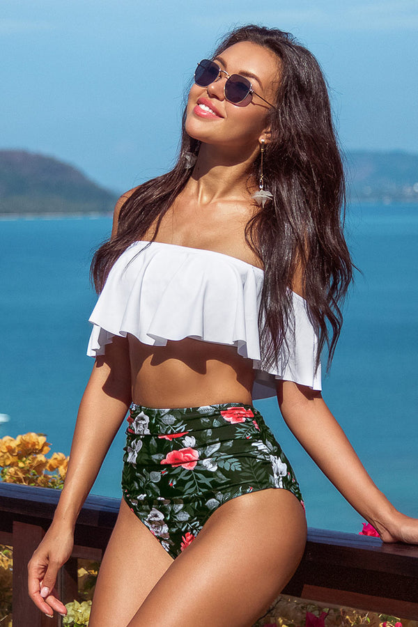 Red Floral High-Waisted Bikini Bottom