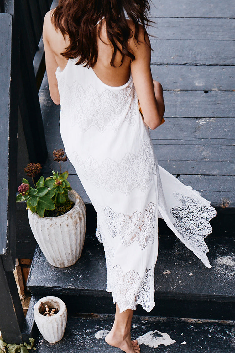 White Lace Side Slit Slip Dress