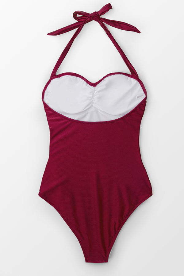 Deep Red Wine Halter One-Piece Swimsuit