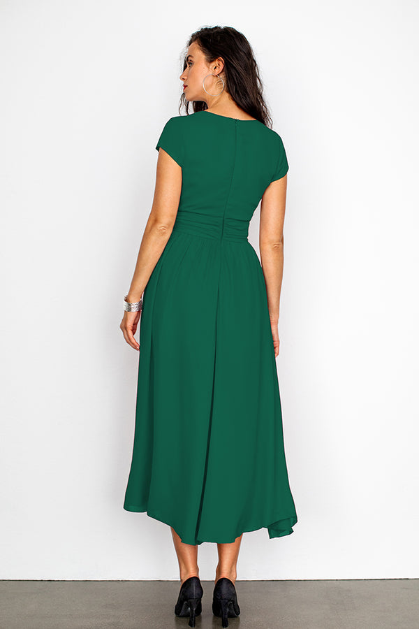 Green V-Neck Shirred Dress
