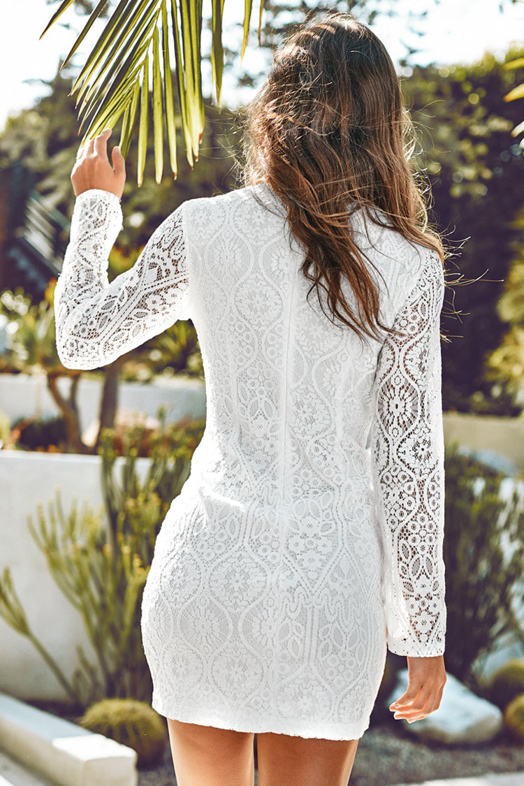 White Lace Long Sleeve Mini Dress
