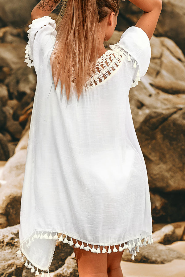 White Tie Front Cover Up with Tassels