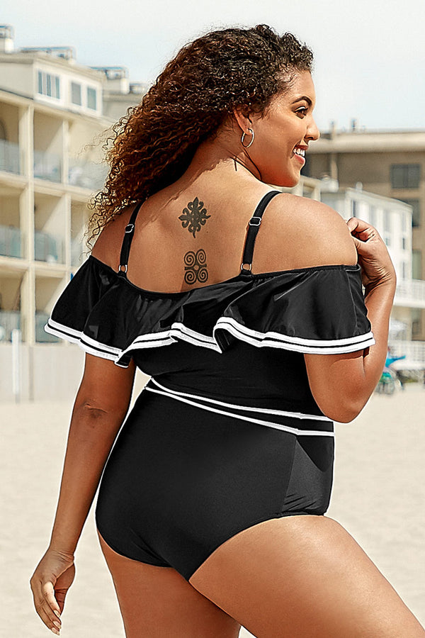 White Trimmed Plus Size One Piece Swimsuit