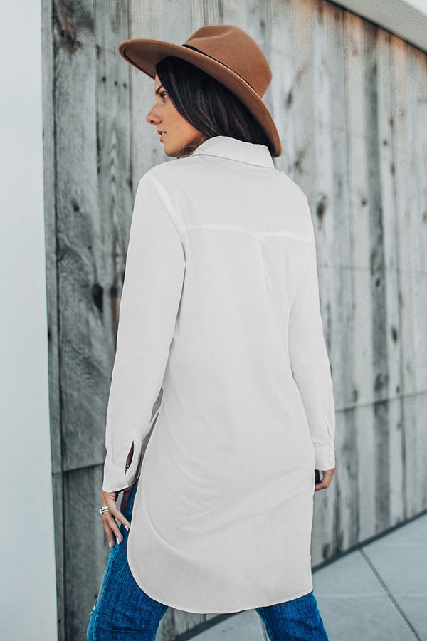 White Solid Long Sleeve Shirt Dress