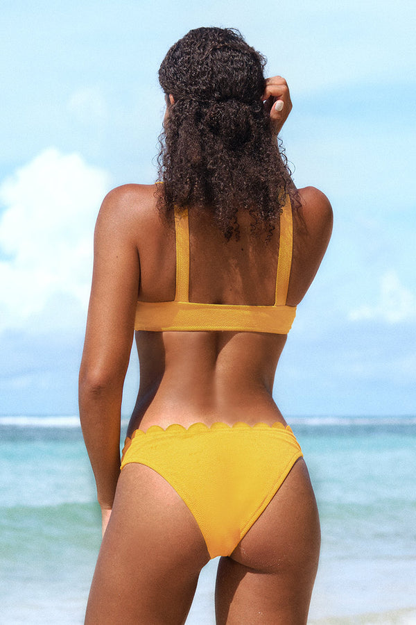 Bright Yellow Scalloped Bikini
