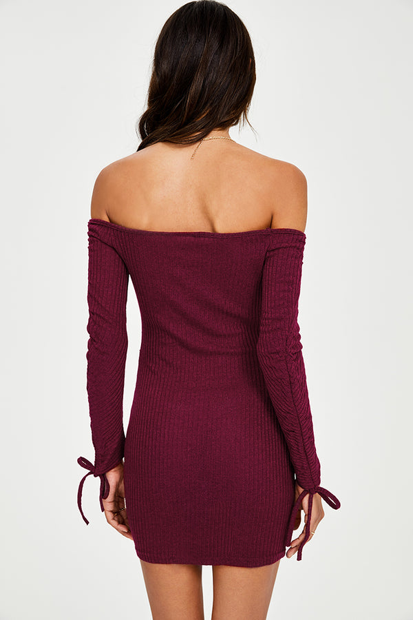 Red Off The Shoulder Bodycon Mini Dress
