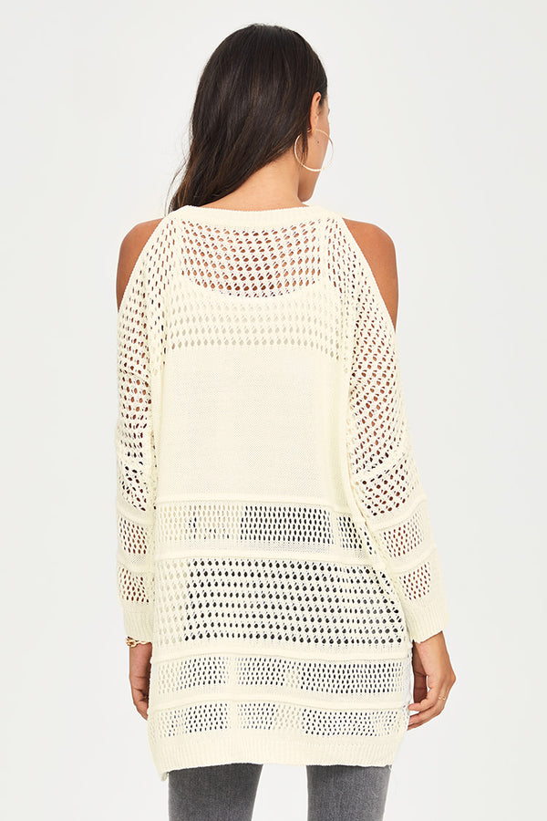 Knit Cold-Shoulder Tunic with Fringe
