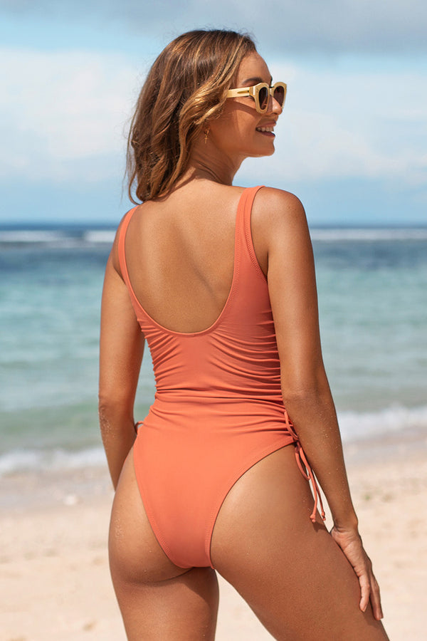 Carolina Drawstring Ruched One Piece Swimsuit
