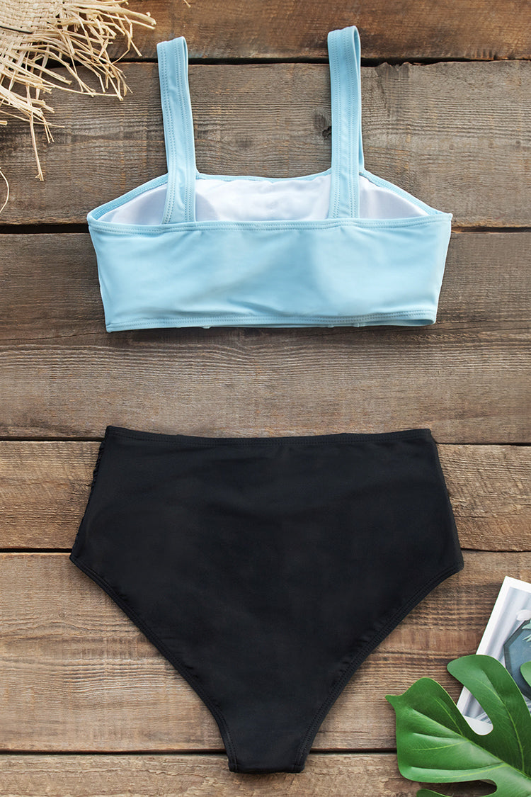 Baby Blue and Black High-Waisted Bikini