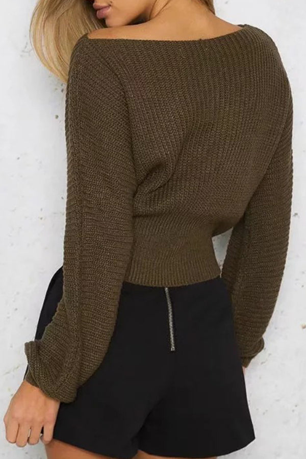 Olive Lace-Up Off-the-Shoulder Sweater
