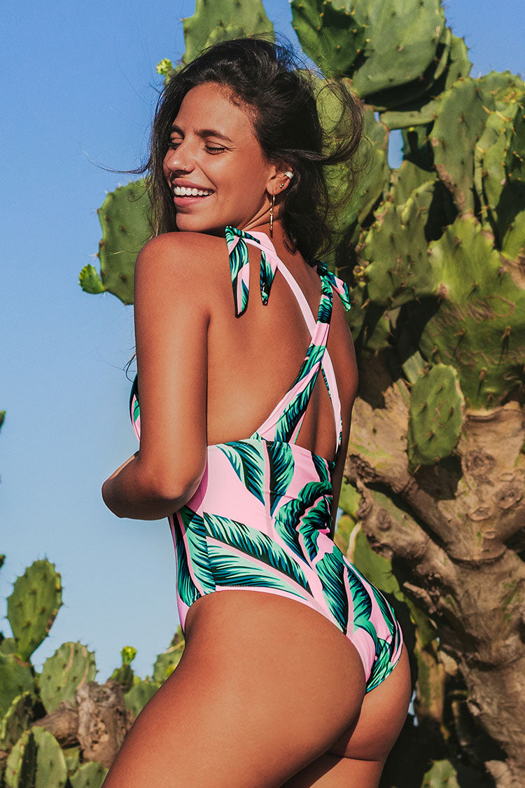 Pink Palm Print One Piece Swimsuit