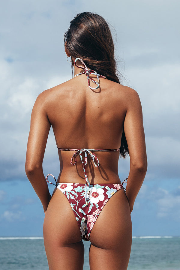 Romantic Floral Triangle String Bikini