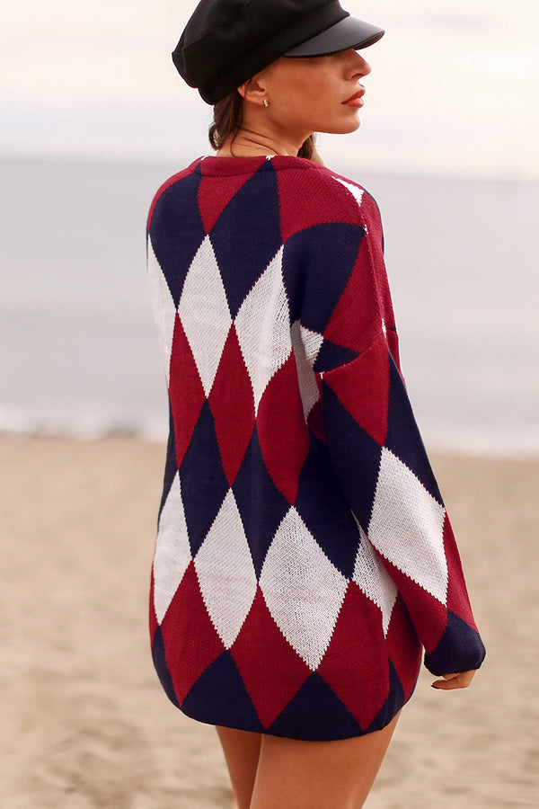 Red Black and White Diamond Pattern Cardigan