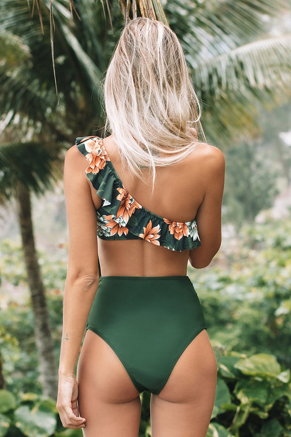 Green Floral Ruffled One-Shoulder Bikini