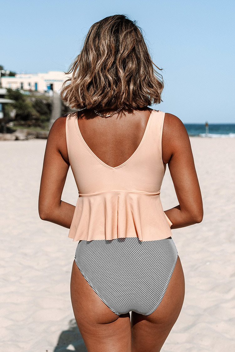 Pink Peplum and Striped Tankini
