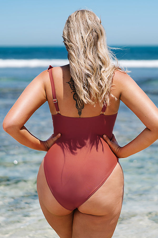 Ruffled and Ruched Cutout Plus Size One Piece Swimsuit