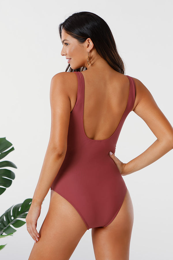 Shirred Scoop Back One Piece Swimsuit